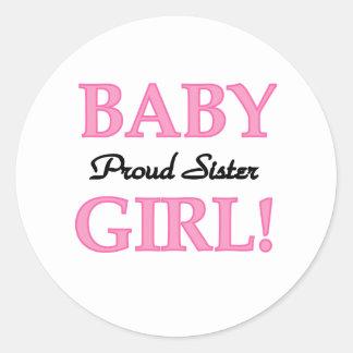 Baby Girl Proud Sister Round Sticker