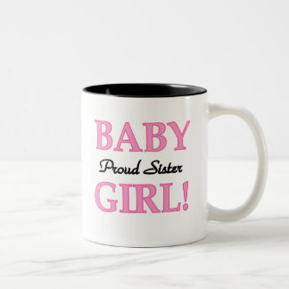 Baby Girl Proud Sister Two-Tone Mug