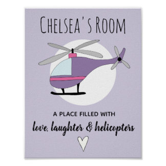Baby Girl Purple Helicopter Aircraft Name Nursery Poster