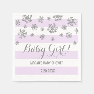 Baby Girl! Purple Stripes Silver Snow Baby Shower Disposable Serviettes