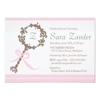 "Baby Girl Rattle Shower Invitation 5"" X 7"" Invitation Card"