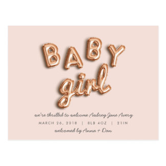 BABY girl! Rose gold/PINK postcard. Postcard