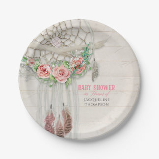 Baby Girl Shower BOHO Floral Dream Catcher Feather Paper Plate