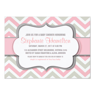Baby girl shower colorful chevron 11 cm x 16 cm invitation card