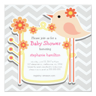 Baby girl shower gray chevron flower birds card