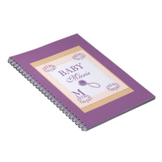 Baby girl shower guestbook stamp look spiral note book