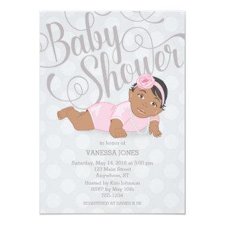 Baby Girl Shower Invitation Black Hair/Brown Eyes
