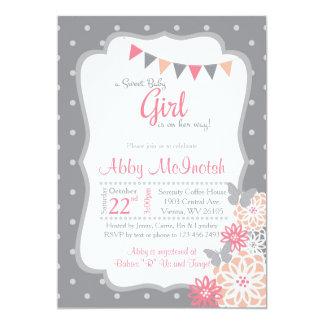 Baby girl shower invitation in grey polkadots
