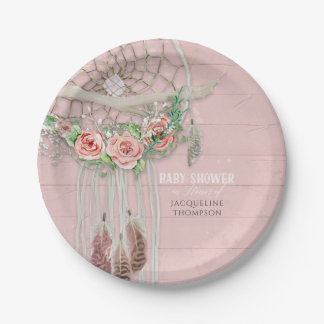 Baby Girl Shower Modern Floral Hot Pink Peach Rose Paper Plate