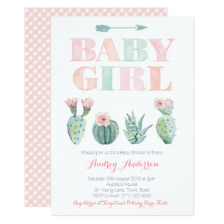 Baby Girl Shower or Sprinkle with Desert cacti Card