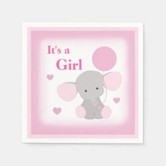 Baby Girl Shower Pink Grey Elephant Sprinkle Party Paper Serviettes