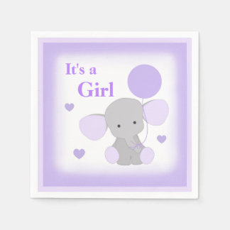 Baby Girl Shower Purple Elephant Sprinkle Party Disposable Serviette