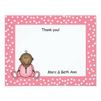 Baby Girl Shower Thank You Note dark skin 11 Cm X 14 Cm Invitation Card