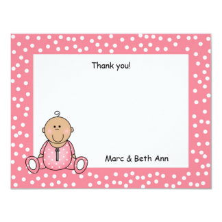 Baby Girl Shower Thank You Note medium skin 11 Cm X 14 Cm Invitation Card