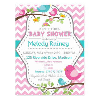 Baby Girl Shower With Chevron and BIrds Postcard