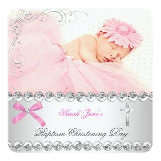 Baby Girl Silver Pink Christening Baptism Cross Card