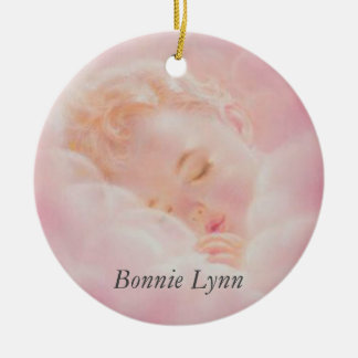 Baby Girl Sleeping Clouds Personalized Pink Round Ceramic Decoration