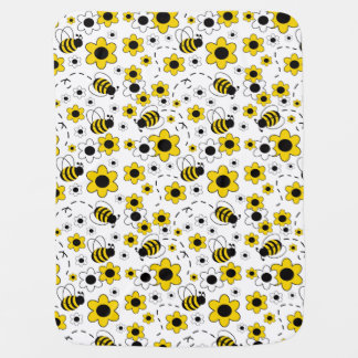 Baby Girl Stats Bumble Bee White Yellow Floral Receiving Blanket