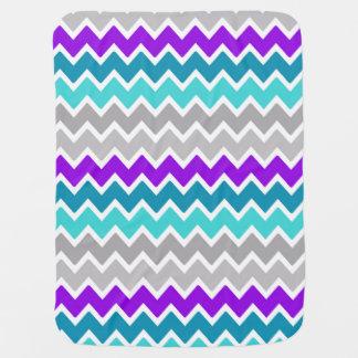 Baby Girl Stats Teal Turquoise Purple Gray Chevron Baby Blanket