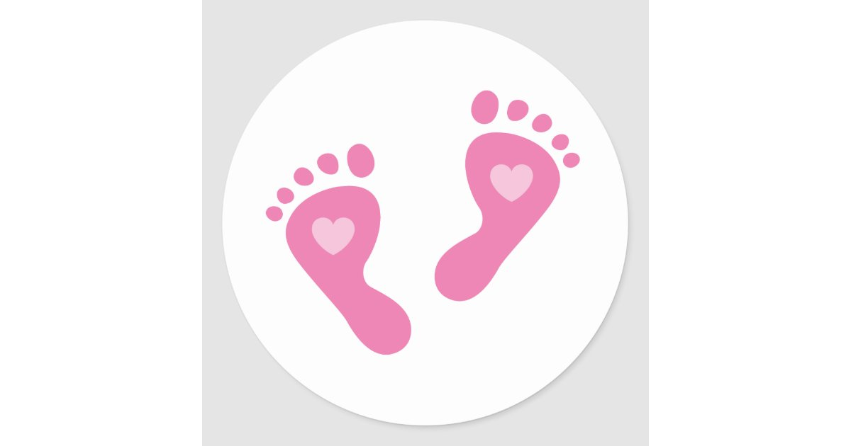 baby girl stickers with heart foot prints zazzle com au