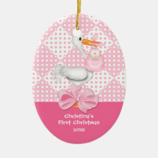 Baby Girl Stork  Baby's First Christmas Ornament