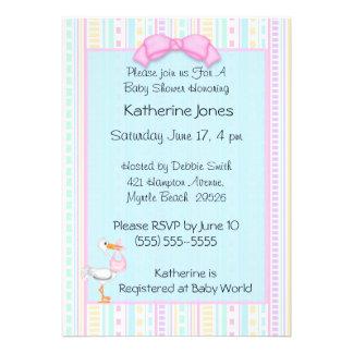 Baby Girl  Stork Shower Invitations