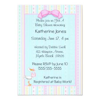 "Baby Girl  Stork Shower Invitations 5"" X 7"" Invitation Card"
