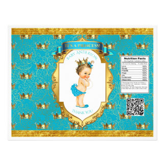 Baby Girl Teal Gold Chip Bag Wrappers