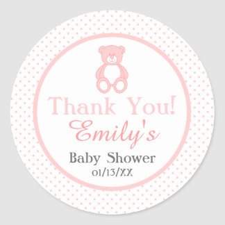 Baby Girl Teddy Bear Thank You Stickers