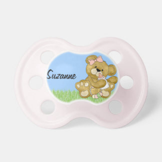 Baby Girl Teddy Bear to Customize Pacifiers