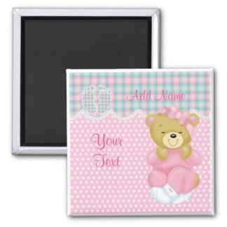 """Baby Girl Teddybear"" Square Magnet"