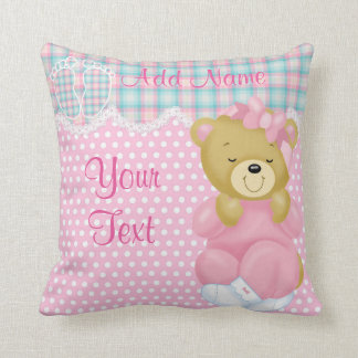 """Baby Girl Teddybear"" Throw Pillow"