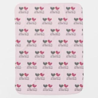 Baby Girl Tender Pink Cute Birds Little Beautiful Baby Blanket