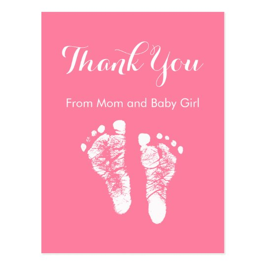 Baby Girl Thank You Cute Pink Newborn Footprints Postcard