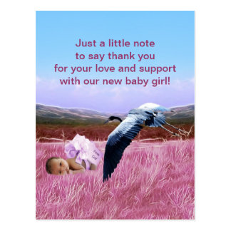 Baby Girl thank you Post Cards