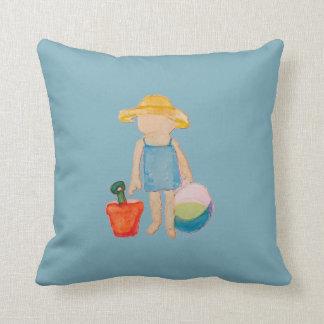 Baby Girl Toddler on Summer Beach Birthday Blue Cushion