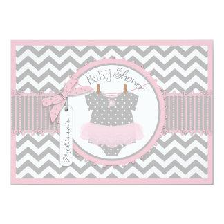Baby Girl Tutu Chevron Print Baby Shower 13 Cm X 18 Cm Invitation Card