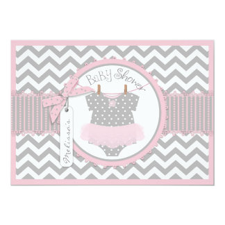 Baby Girl Tutu Chevron Print Baby Shower Card