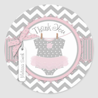 Baby Girl Tutu Chevron Print Thank You Label