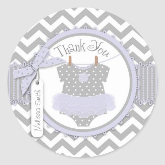 Baby Girl Tutu Chevron Print Thank You Label Classic Round Sticker