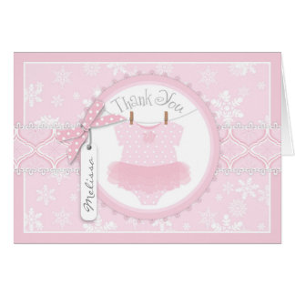 Baby Girl Tutu Snowflak Print Thank You Card