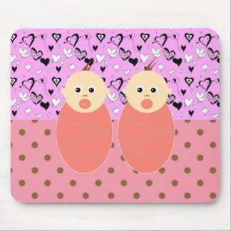 Baby Girl Twins Mother Pink Pattern Expecting Mouse Pad