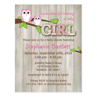 Baby Girl White Owl Shower Postcard