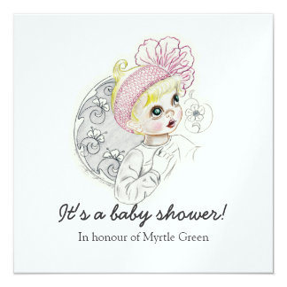"""Baby Girl With Big Blue Eyes 5.25"""" Square Invitation Card"""
