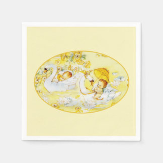 Baby Girl Yellow Shower Napkins Swan Personalized Disposable Serviettes