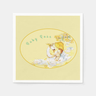 Baby Girl Yellow Shower Napkins Swan Personalized Paper Napkins