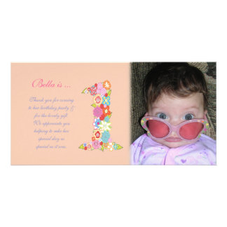 Baby Girls 1st Birthday Thank You Photo Card