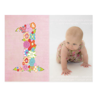 Baby Girl's 1st Birthday Thank You Photo Postcard