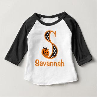 Baby Girls 1st Halloween shirt Pumpkin Initial s