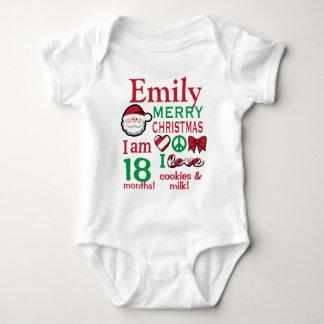 Baby Girls 2nd Christmas Bodysuit Girl Santa Shirt